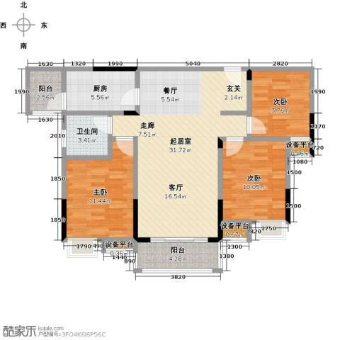 新城壹号3室0厅1卫1厨112.00㎡户型图
