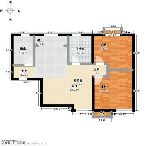 丰台大红门油毡厂地块2室0厅1卫1厨76.03㎡户型图