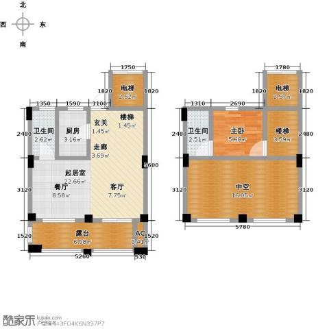 鸿地凰庭1室0厅2卫1厨80.00㎡户型图