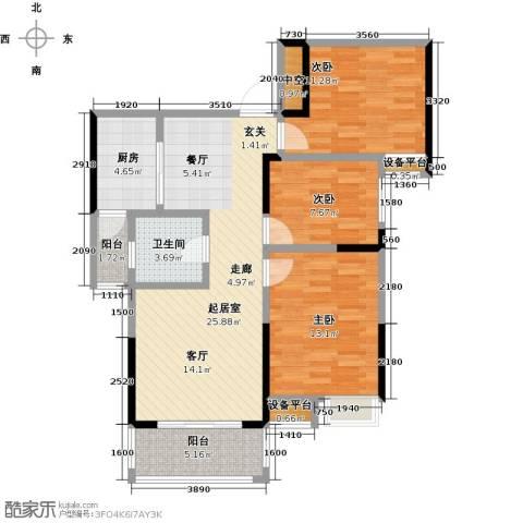 新城壹号3室0厅1卫1厨108.00㎡户型图