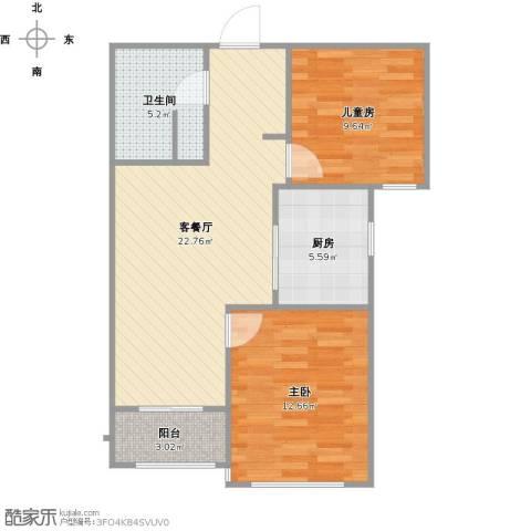 御园2室1厅1卫1厨80.00㎡户型图