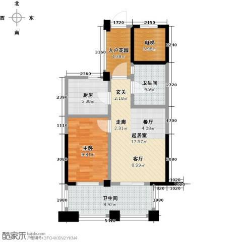鸿地凰庭1室0厅2卫1厨60.00㎡户型图
