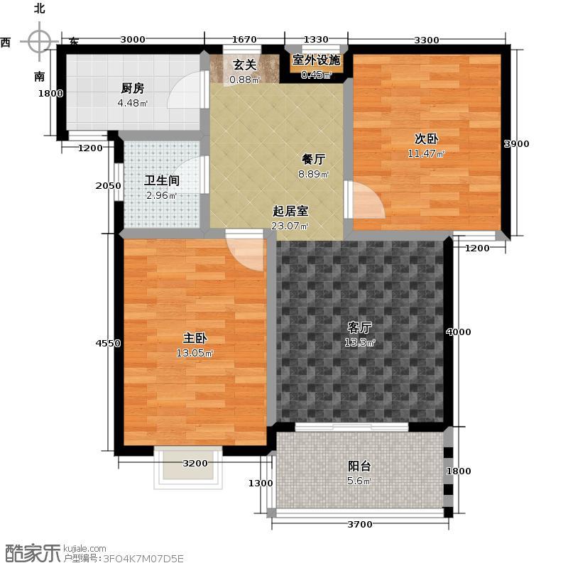 时代豪邸户型2室1卫1厨