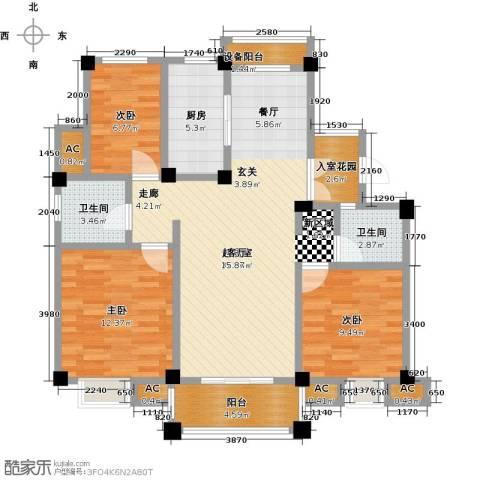 鸿地凰庭3室0厅2卫1厨110.00㎡户型图
