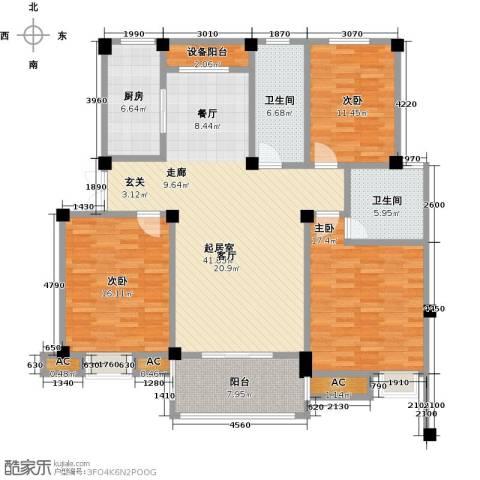 鸿地凰庭3室0厅2卫1厨120.00㎡户型图