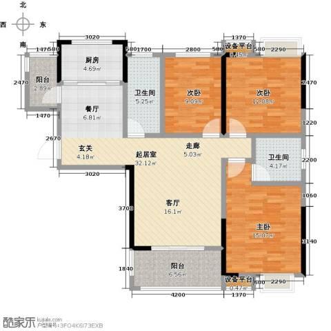 新城壹号3室0厅2卫1厨132.00㎡户型图