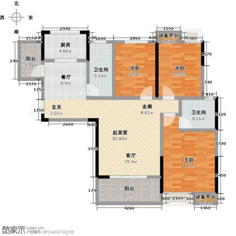 新城壹号3室0厅2卫1厨131.00㎡户型图