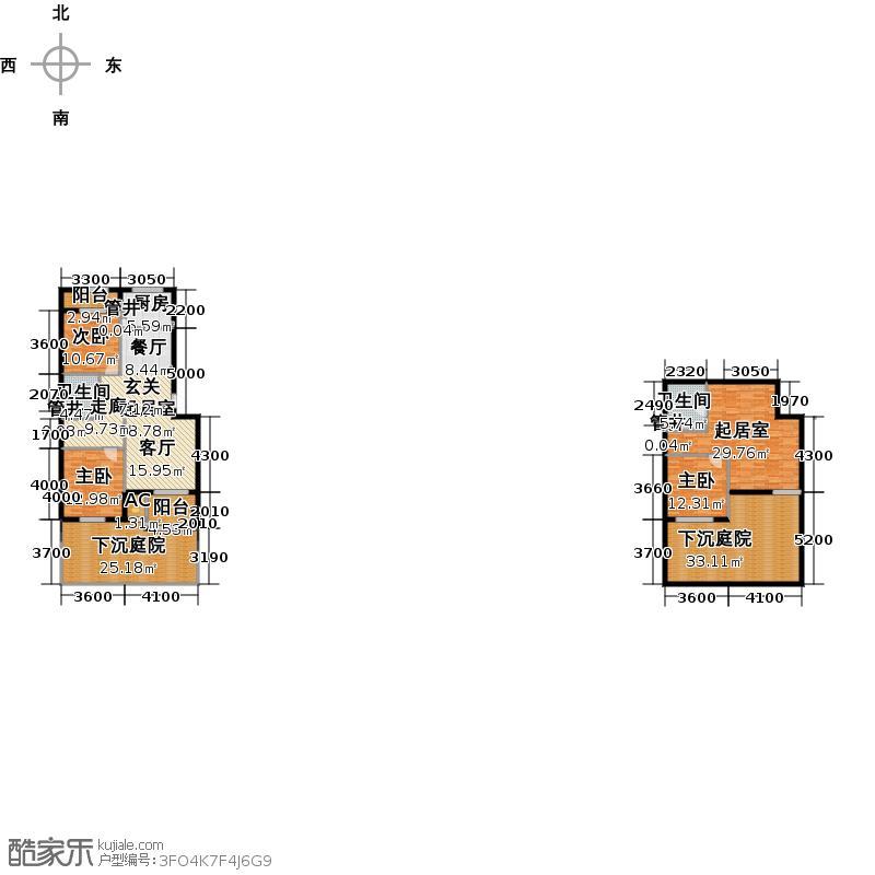 皇家御湾97.00㎡L2'户型两室两厅一卫户型2室2厅1卫-1