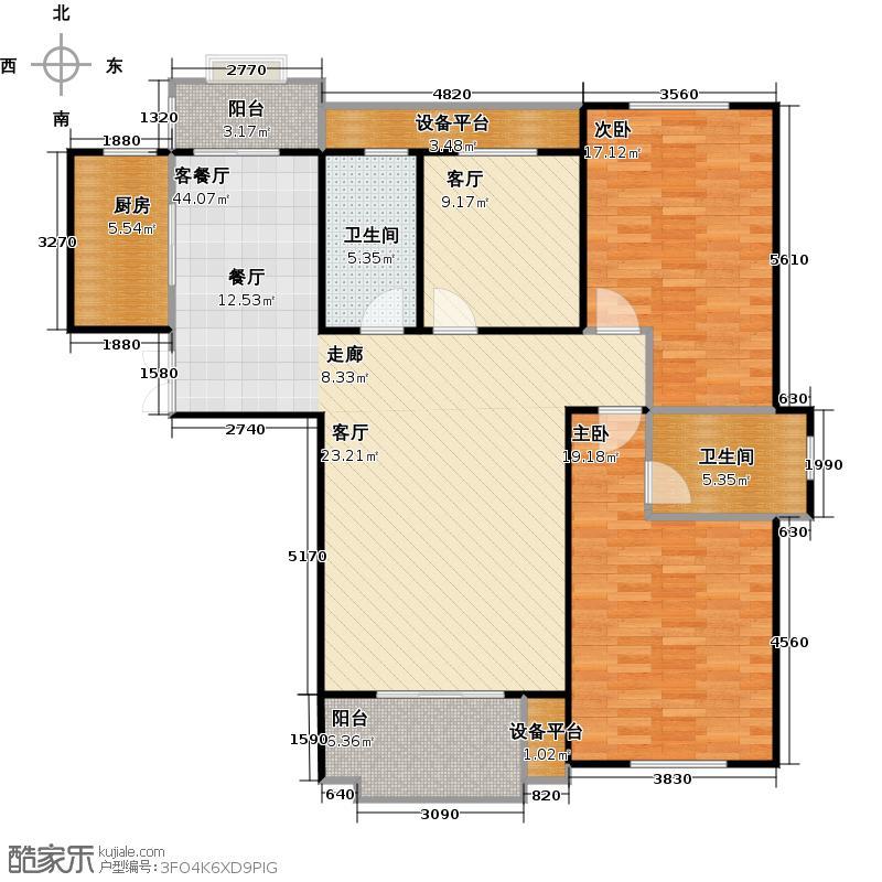 滨江六合盛世135.00㎡东方赛纳K1户型3室2厅2卫