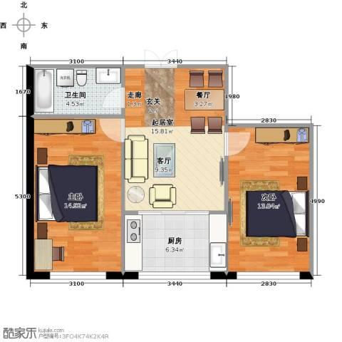 万象国际2室0厅1卫1厨75.00㎡户型图