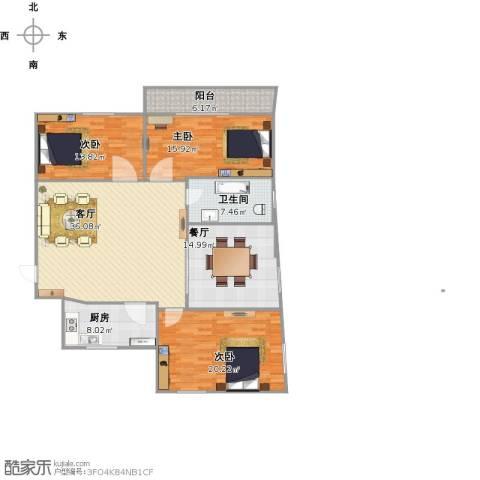 天湖花园3室2厅1卫1厨163.00㎡户型图