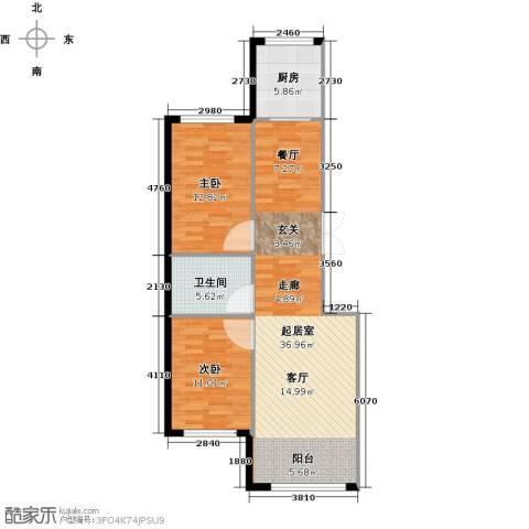 万象国际2室0厅1卫1厨98.00㎡户型图