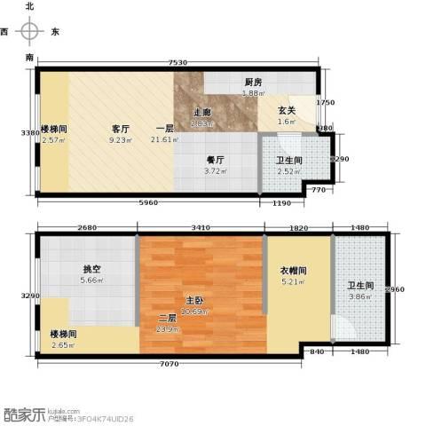 TOUCH悦城2卫0厨56.00㎡户型图