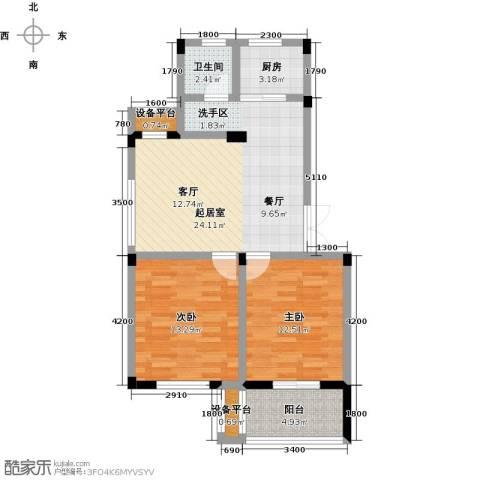 恒佳太阳城2室0厅1卫1厨76.00㎡户型图