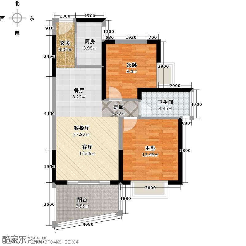 阳光海岸77.64㎡1栋01户型2室2厅