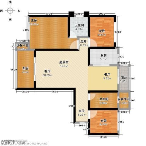 鼎秀华城3室0厅2卫1厨128.33㎡户型图