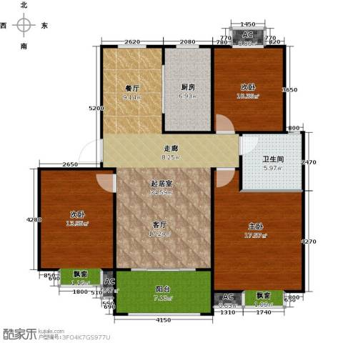 盛世景园3室0厅1卫1厨106.00㎡户型图