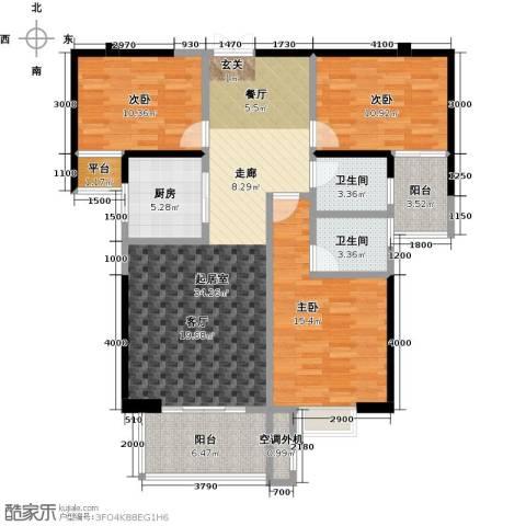 华府豪庭3室0厅2卫1厨124.00㎡户型图