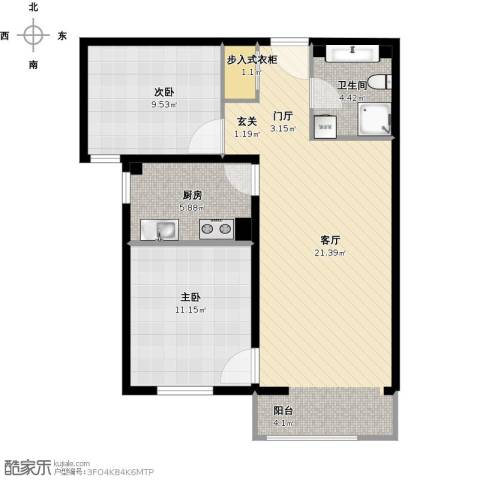 亿朋苑2室1厅1卫1厨86.00㎡户型图