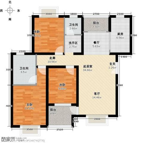 松石国际城3室0厅2卫1厨127.00㎡户型图