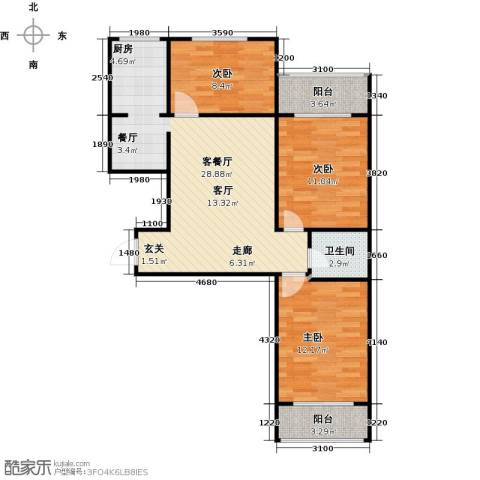 滨河雅园3室1厅1卫0厨114.00㎡户型图