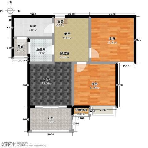 海南大溪地住宅小区2室0厅1卫1厨74.00㎡户型图