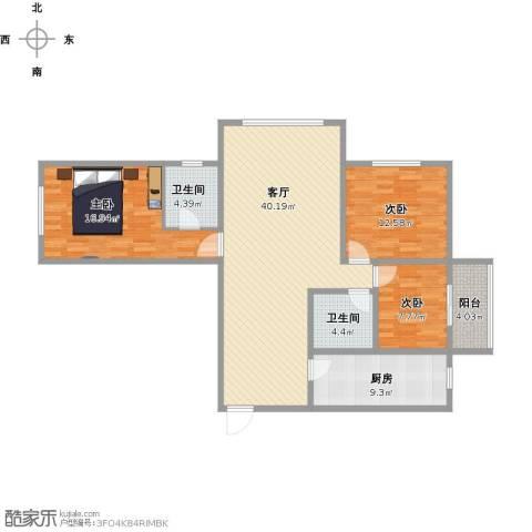 盛世华庭3室1厅2卫1厨139.00㎡户型图