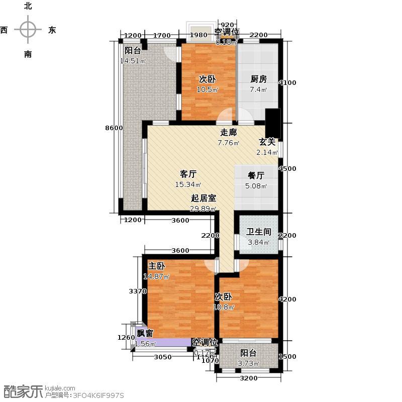 英伦花园118.00㎡高层3户型3室2厅1卫户型3室2厅1卫