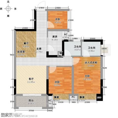 汇乔金色名都3室0厅2卫1厨91.00㎡户型图