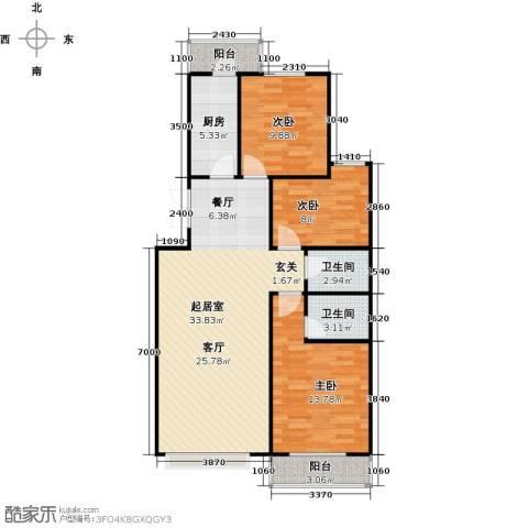 昊业・紫御府3室0厅2卫1厨117.00㎡户型图