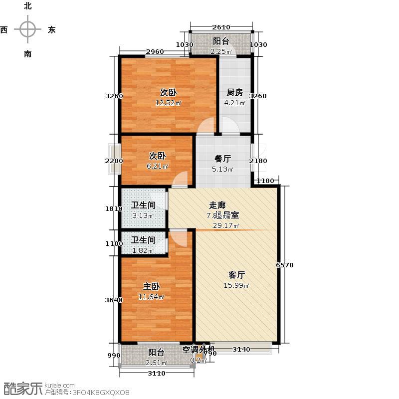 昊业・紫御府115.37㎡二期二号楼F户型 三室两厅两卫户型3室2厅2卫