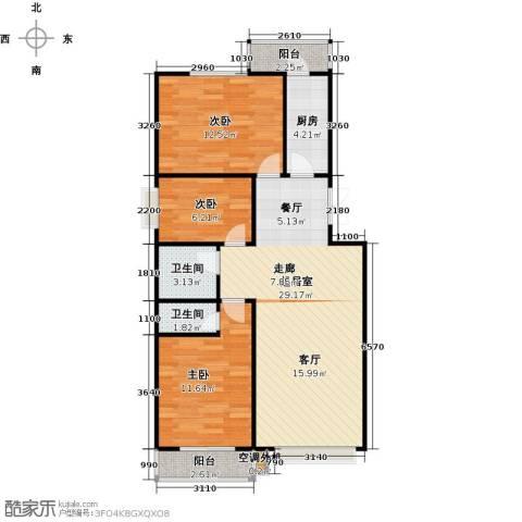 昊业・紫御府3室0厅2卫1厨115.00㎡户型图