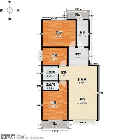昊业・紫御府3室0厅2卫1厨112.00㎡户型图