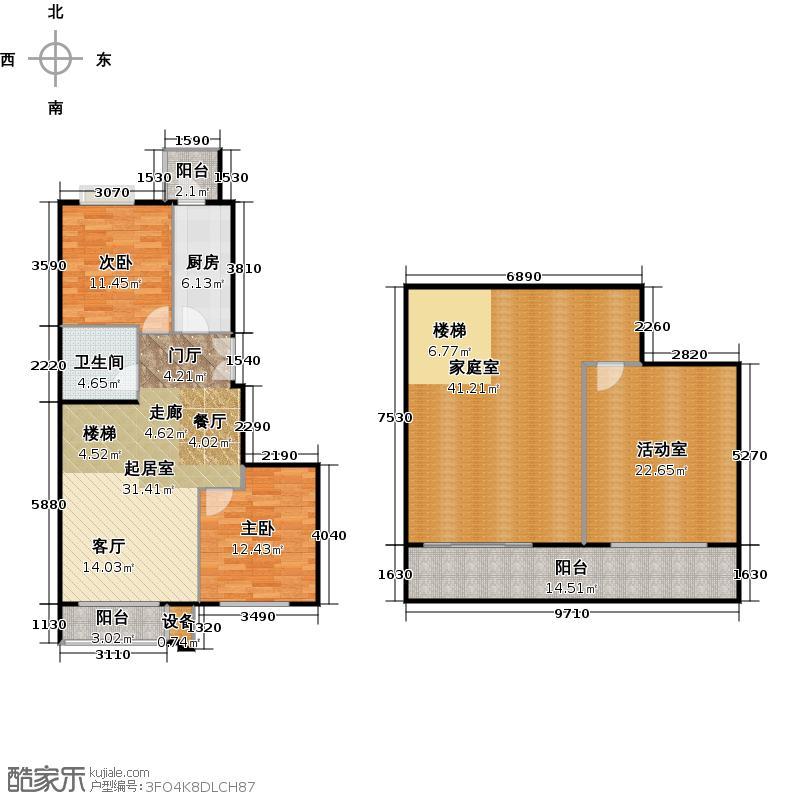 葵花社H户型二室二厅一卫户型