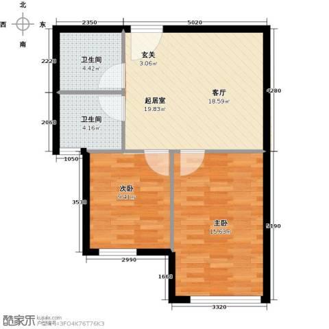 颐景园2室0厅2卫0厨59.00㎡户型图
