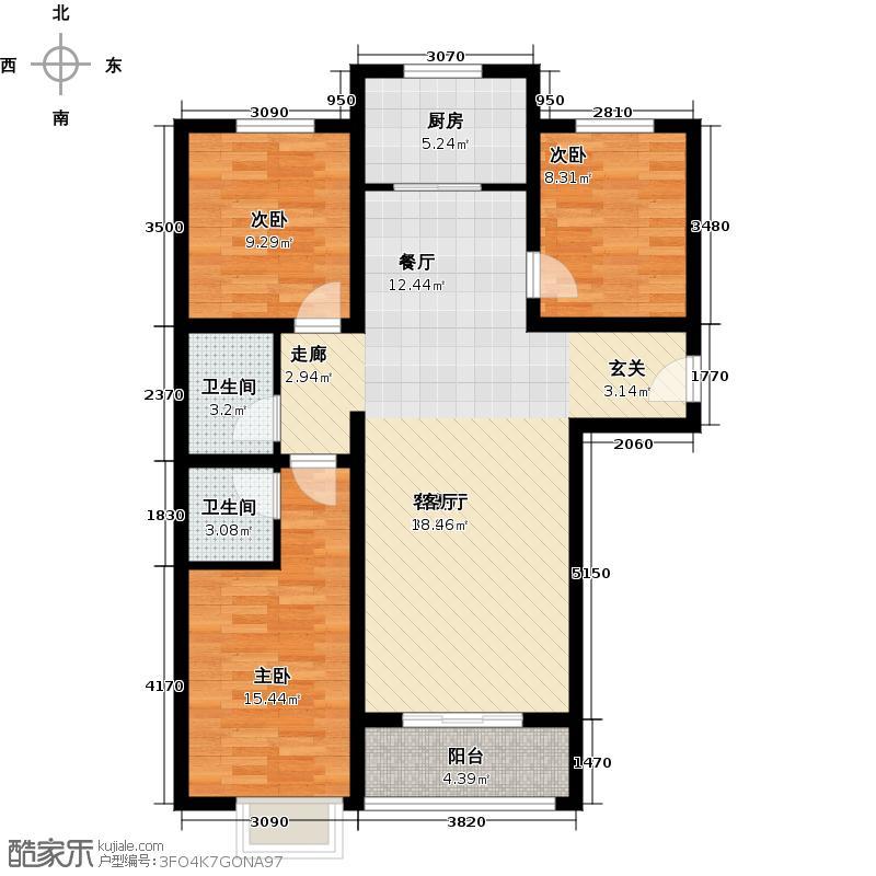 博雅A区113.15㎡P户型-三室两厅两卫户型3室2厅2卫