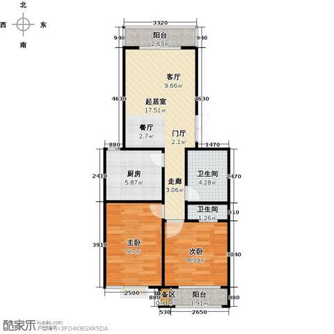 昊业・紫御府2室0厅2卫1厨92.00㎡户型图