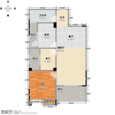奥山星城1室2厅1卫1厨87.00㎡户型图
