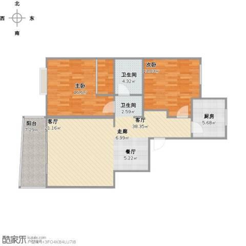 由由新邸2室1厅1卫1厨112.00㎡户型图