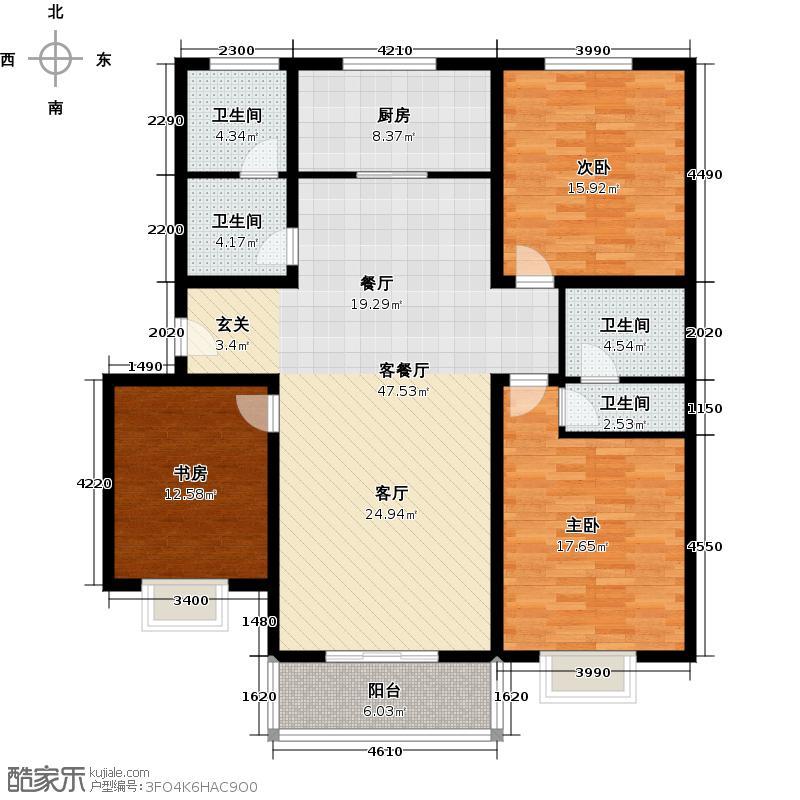 博雅A区139.14㎡1、8、9、10号M户型 两室两厅两卫户型2室2厅2卫