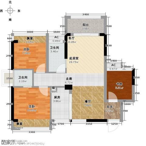 汇乔金色名都3室0厅2卫1厨76.00㎡户型图