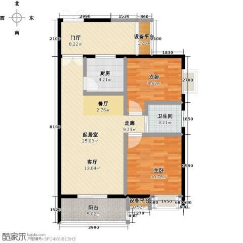 银泉名座2室0厅1卫1厨77.00㎡户型图