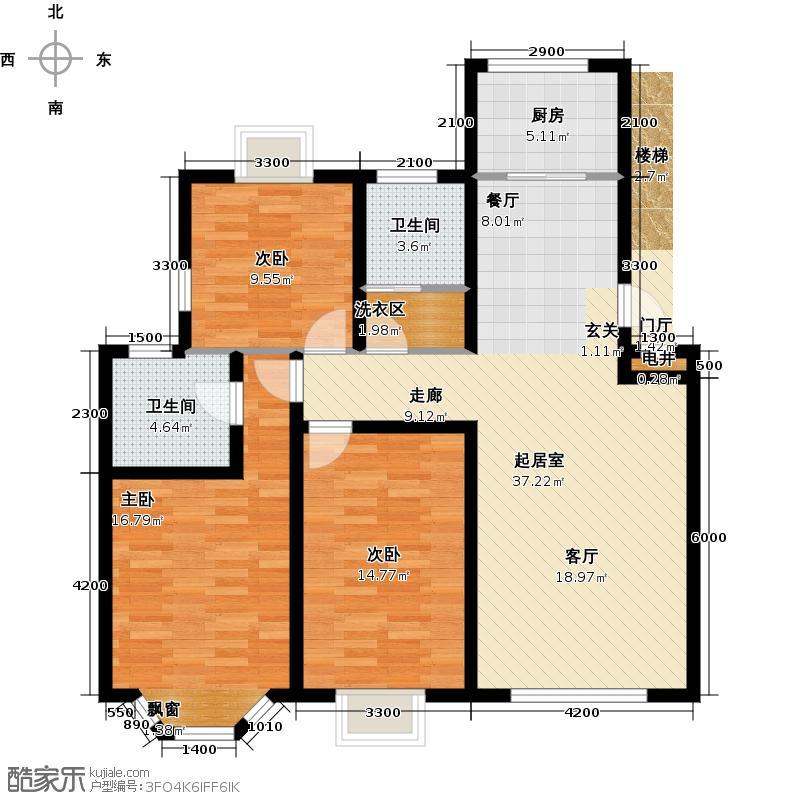 英伦花园129.41㎡多层 三室两厅两卫户型3室2厅2卫