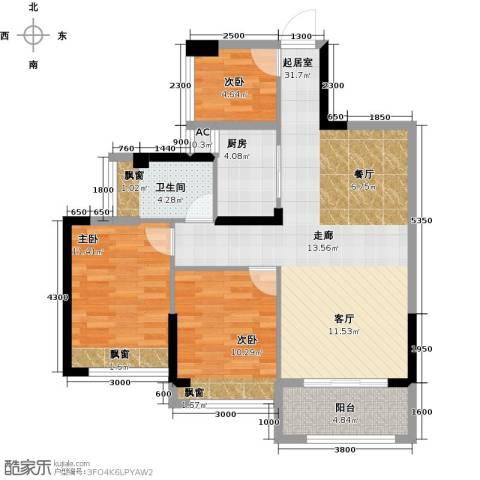 汇乔金色名都3室0厅1卫1厨82.00㎡户型图