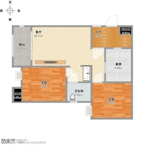 万科悦峰三期2室1厅1卫1厨73.00㎡户型图
