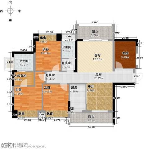 汇乔金色名都4室0厅2卫1厨124.00㎡户型图