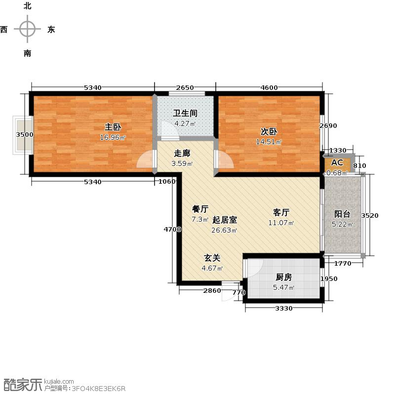 钢苑新区A户型两室两厅一卫一厨83.19平米户型LL
