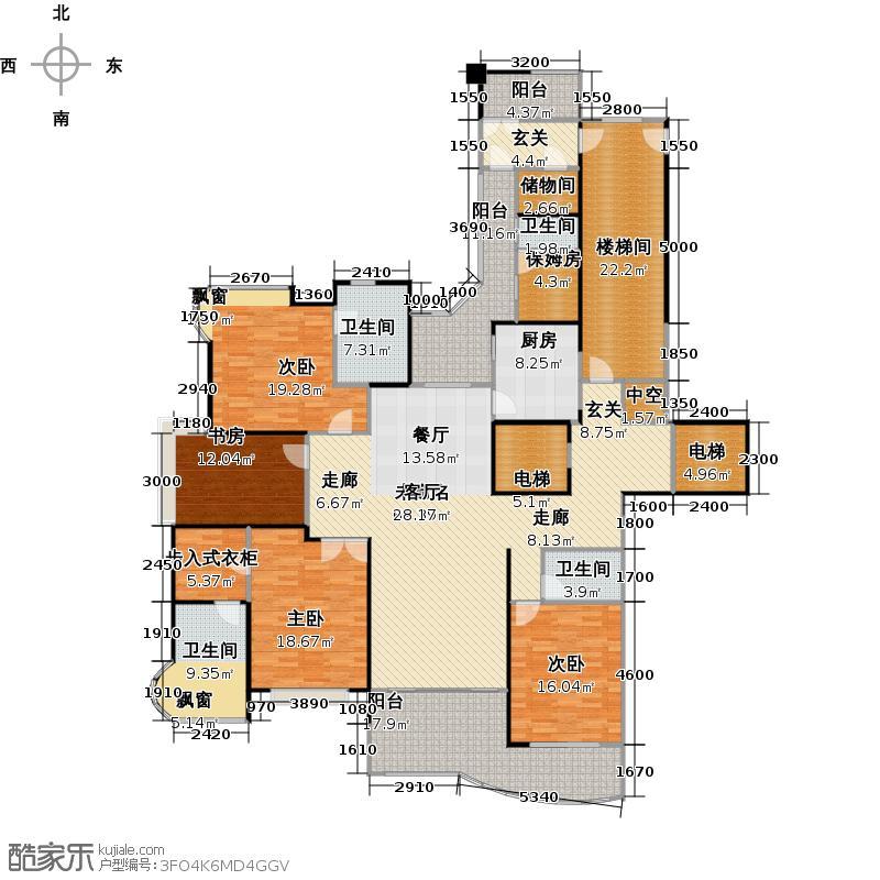 藏龙御景218.00㎡C1户型5室2厅4卫