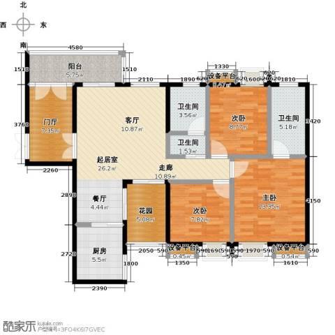 银泉名座3室0厅3卫1厨106.00㎡户型图