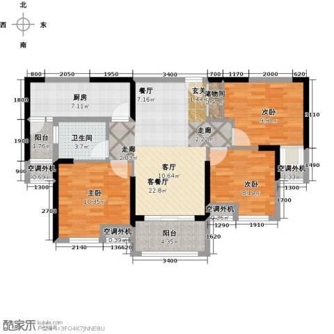 海伦印象3室1厅1卫1厨101.00㎡户型图